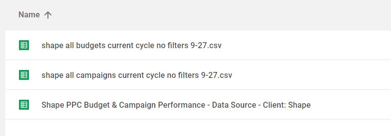 uploaded  shape csvs to google drive and renamed report template.JPG