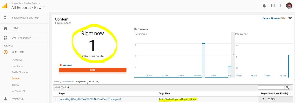Note: It may take a few hours to see data after initial Google Analytics property set up