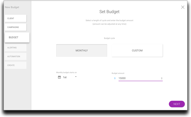 Now Analysts are brought to the new Budget Designer. A cleaner experience with dedicated areas for each of the important settings that accompany new Budgets.