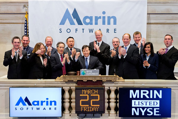 Chris Lien, Marin CEO rings the bell on the NYSE March 22,2013 to celebrate Marin's IPO. ( source )