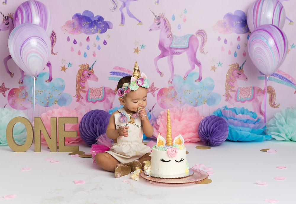 Studio First Birthday Cake Smash Of Baby Girl And Unicorn Theme Setup