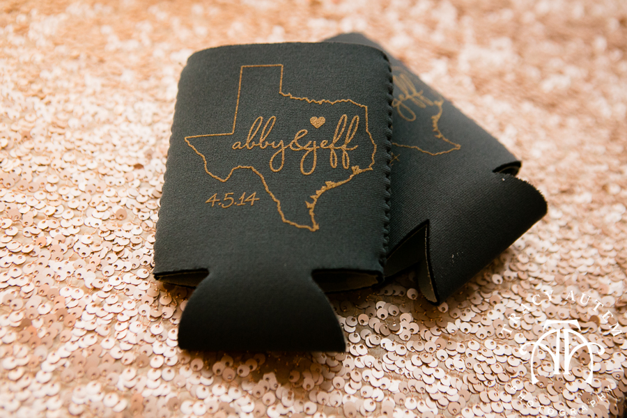 Texas Wedding Koozies by Stamped Paper Co. | Tracy Autem Photography