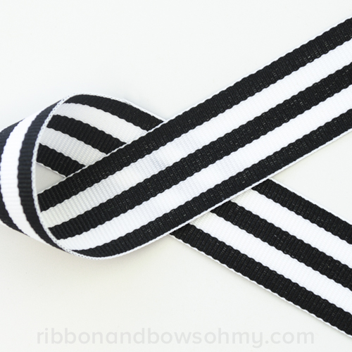 "1.5"" Stripes Ribbon Black and White -Ribbons and Bows Oh My"