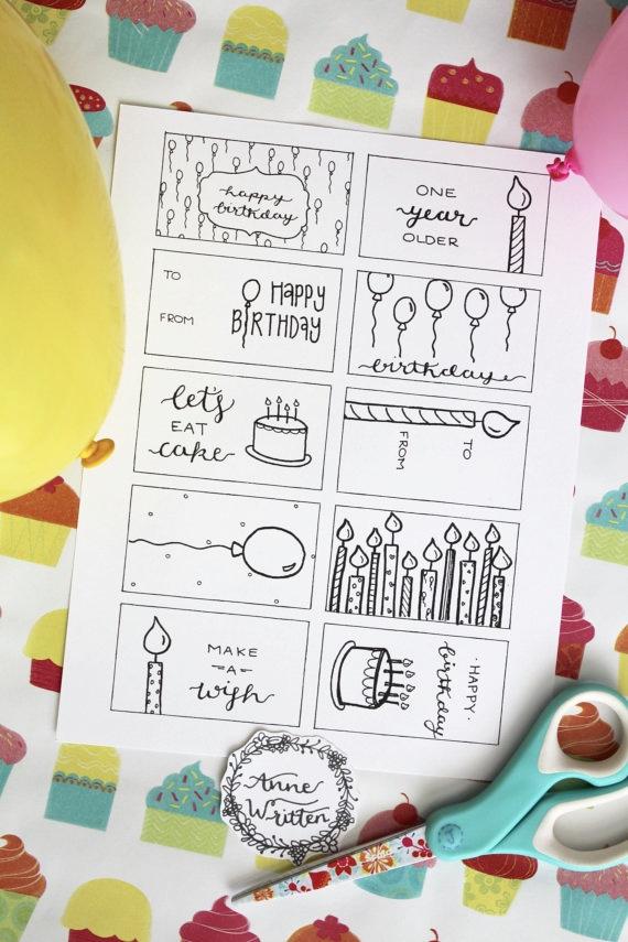 Hand Written Birthday Gift Tags by Anne Written