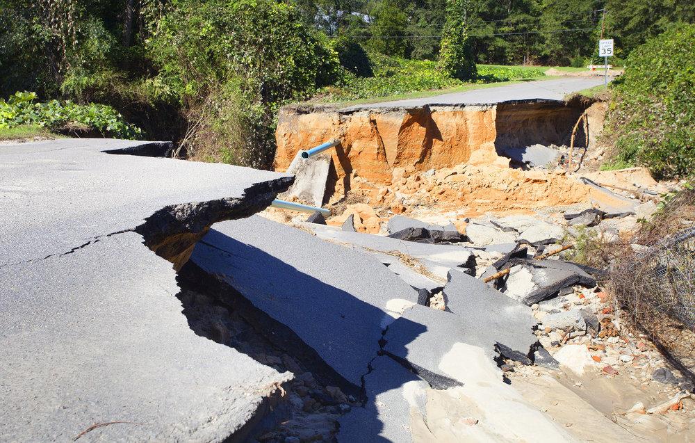 Flood damage caused by Hurricane Matthew in 2016, near Raeford, North Carolina, in 2016.