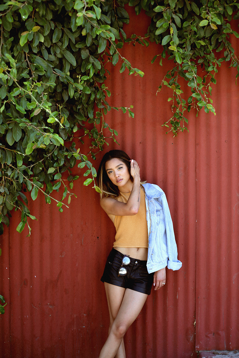 thrifted denim jacket | Brandy Melville top | faux leather shorts | CRAP eyewear   sunnies   | photos by   christine ting