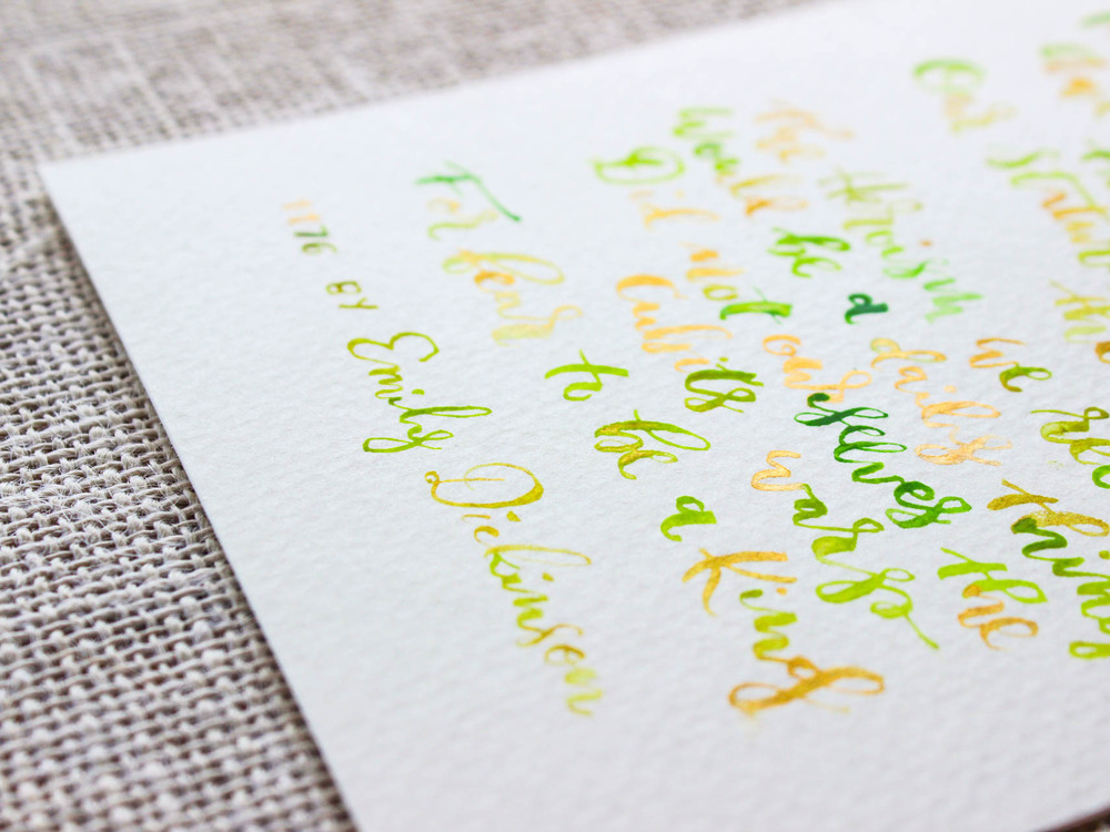 Grass green & gold watercolor - 1176 by Emily Dickinson