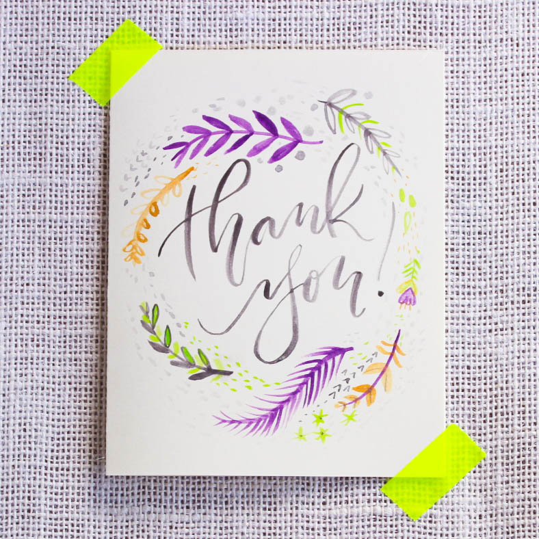 A custom hand illustrated thank you card.