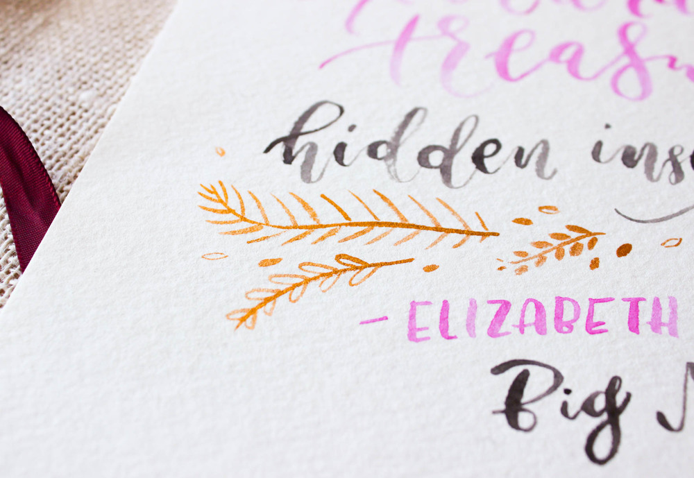 gold embellishments custom calligraphy