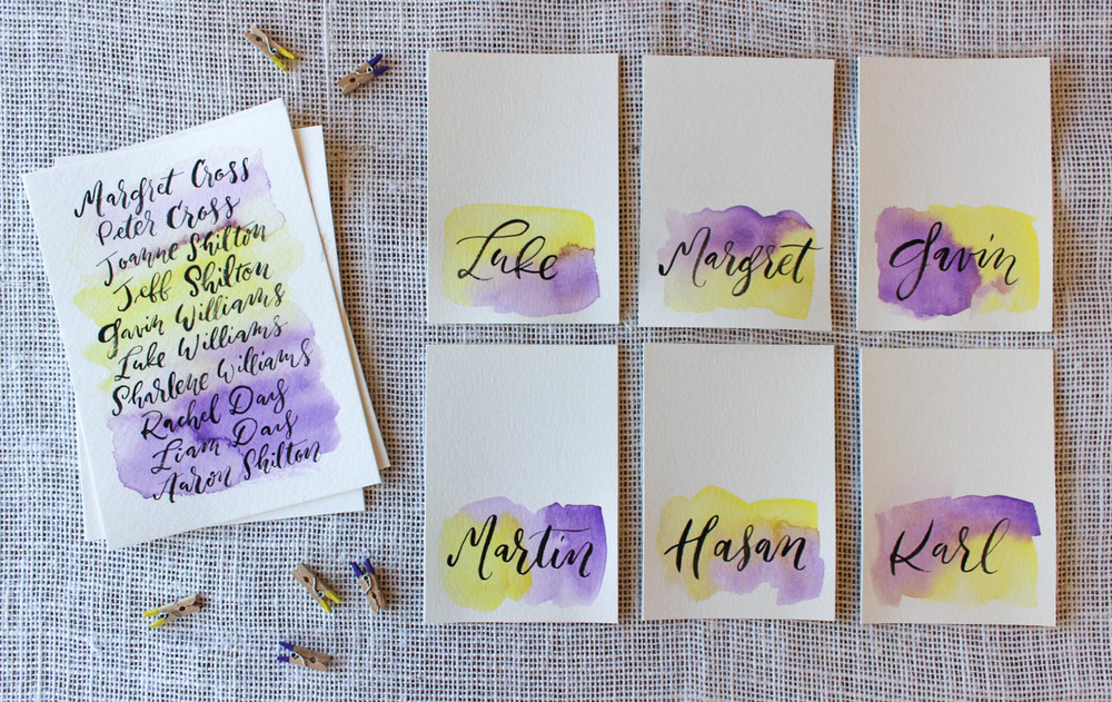 cadbury purple and yellow wedding calligraphy