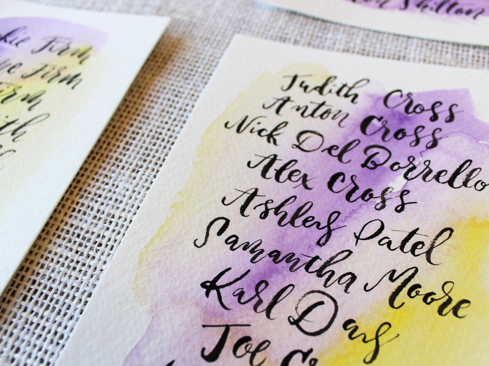 close up watercolor wedding calligraphy