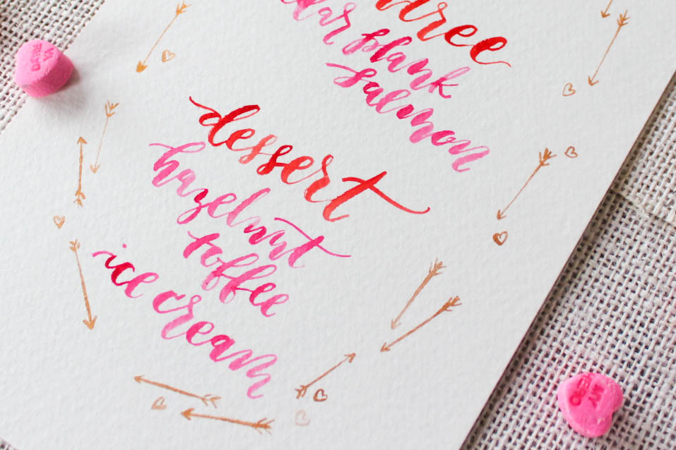 hand lettered valentines day menu by Hey Bernadette