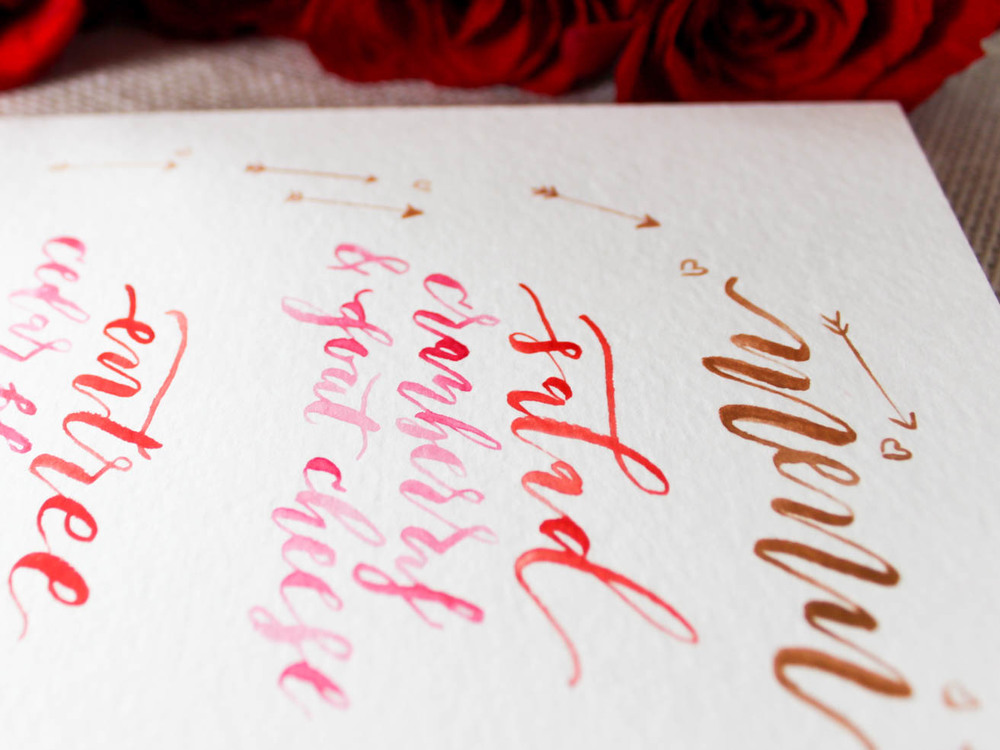 hand lettered valentines dinner menu