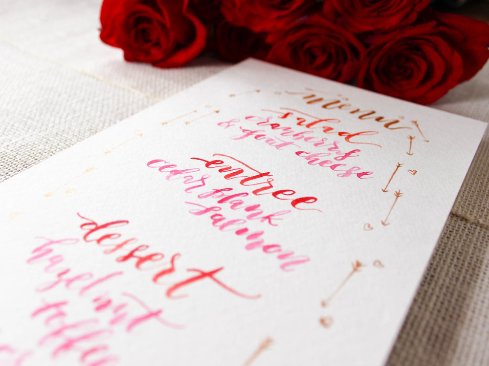 hand lettered menu