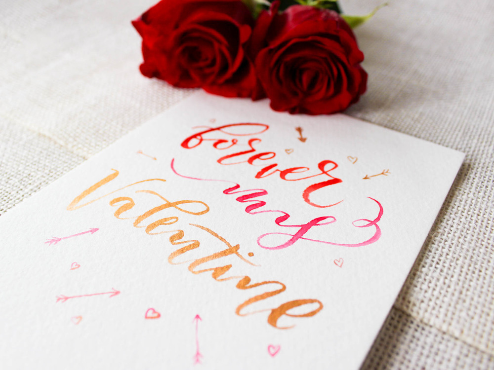 hand lettered valentine card