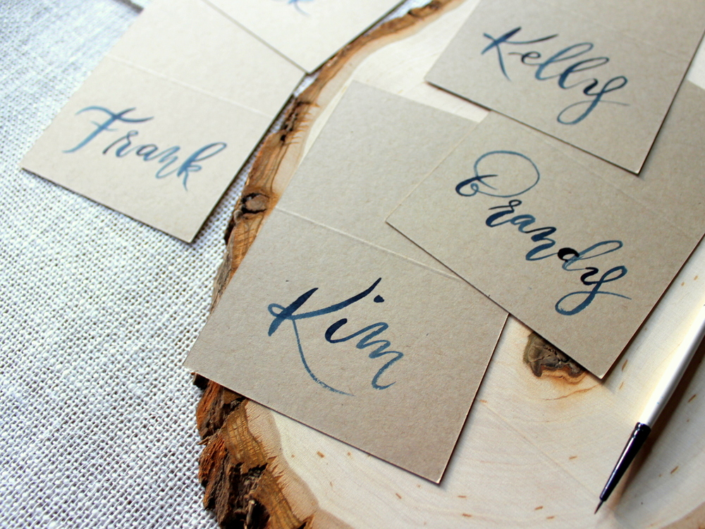 navy on kraft escort cards