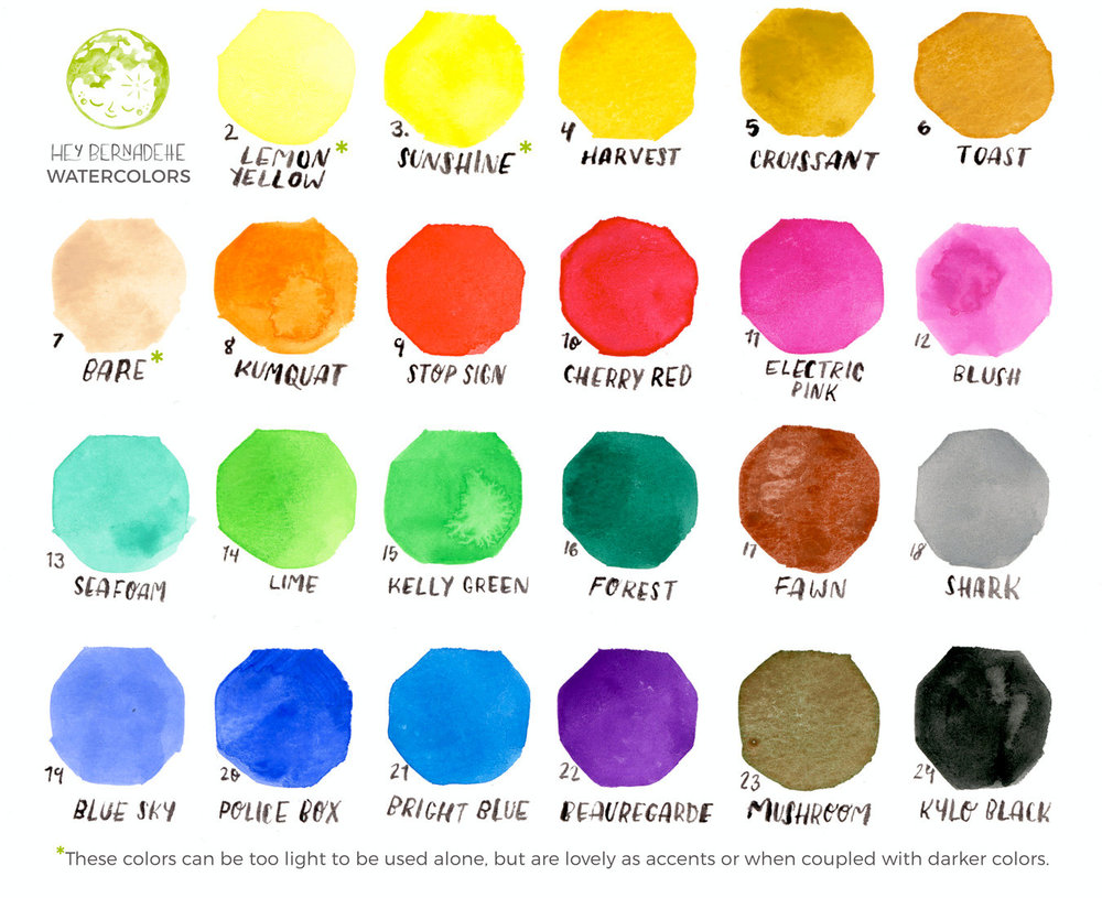 Readily available watercolors to choose from.