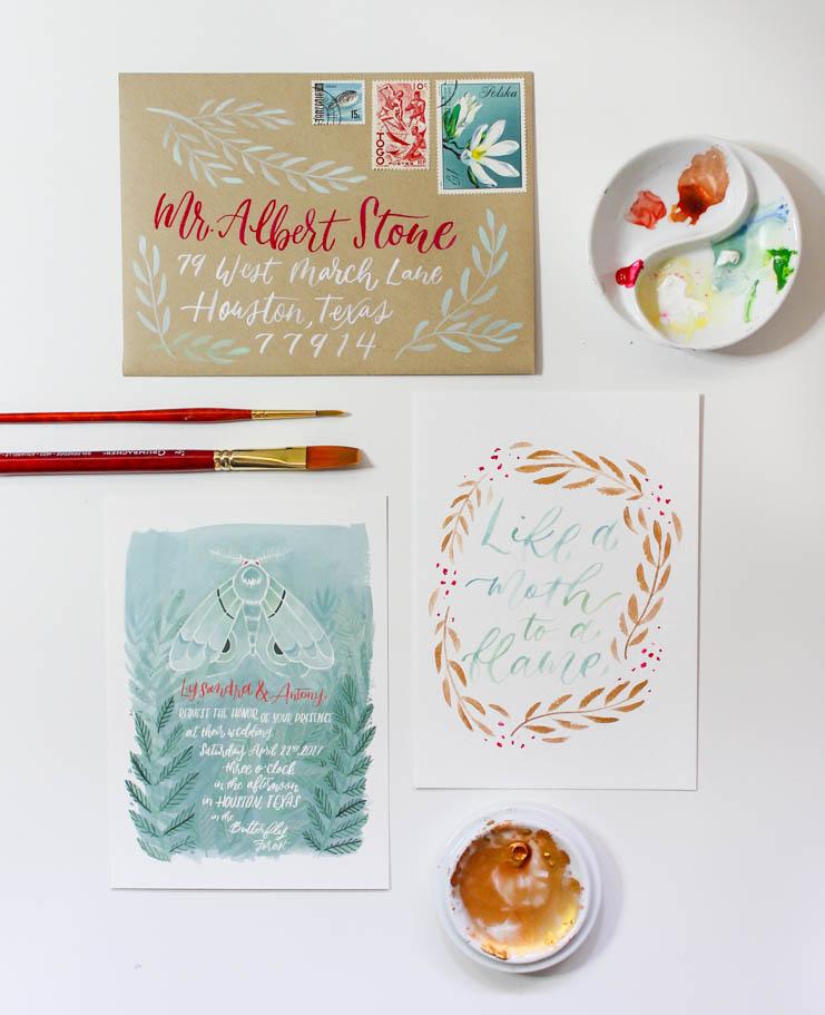 illustrated moth wedding invitation suite