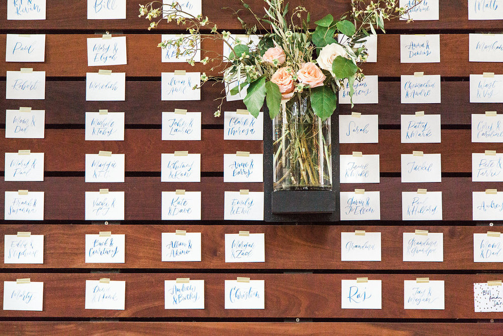detail shot of escort cards on the wall at discovery green