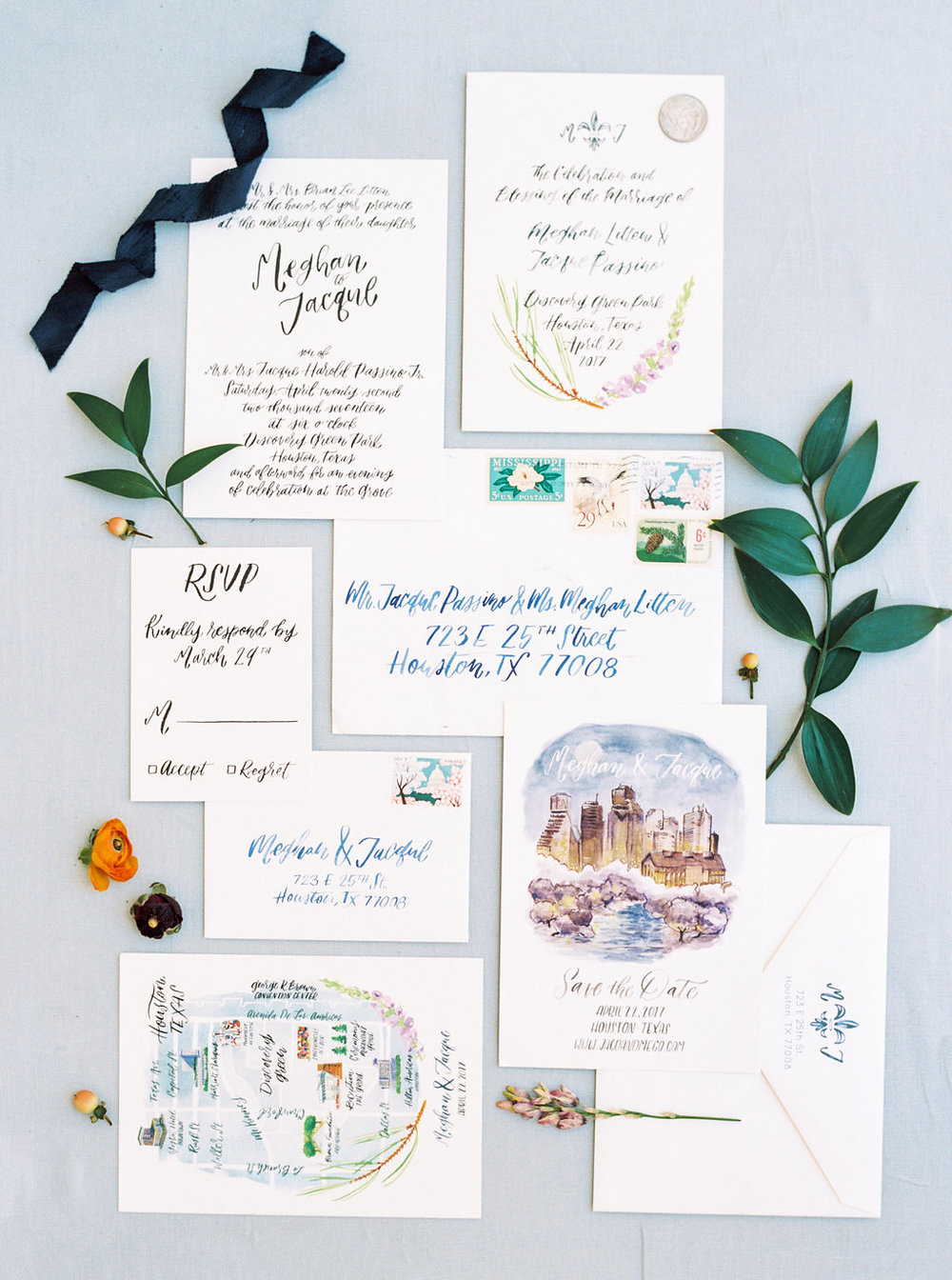 new orleans inspired houston wedding invitations
