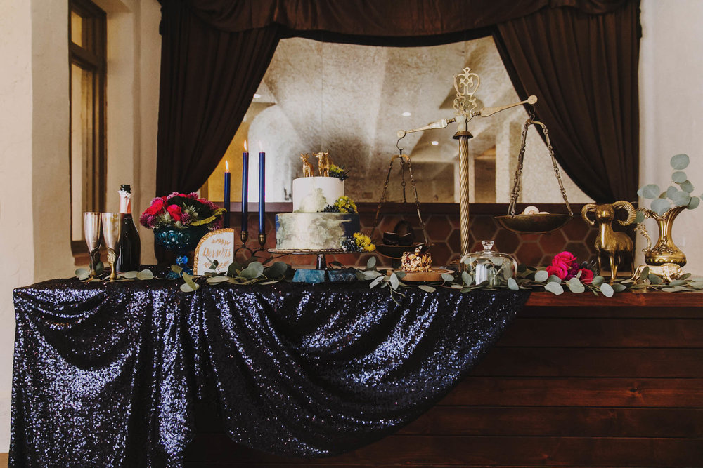 celestial zodiac themed wedding table