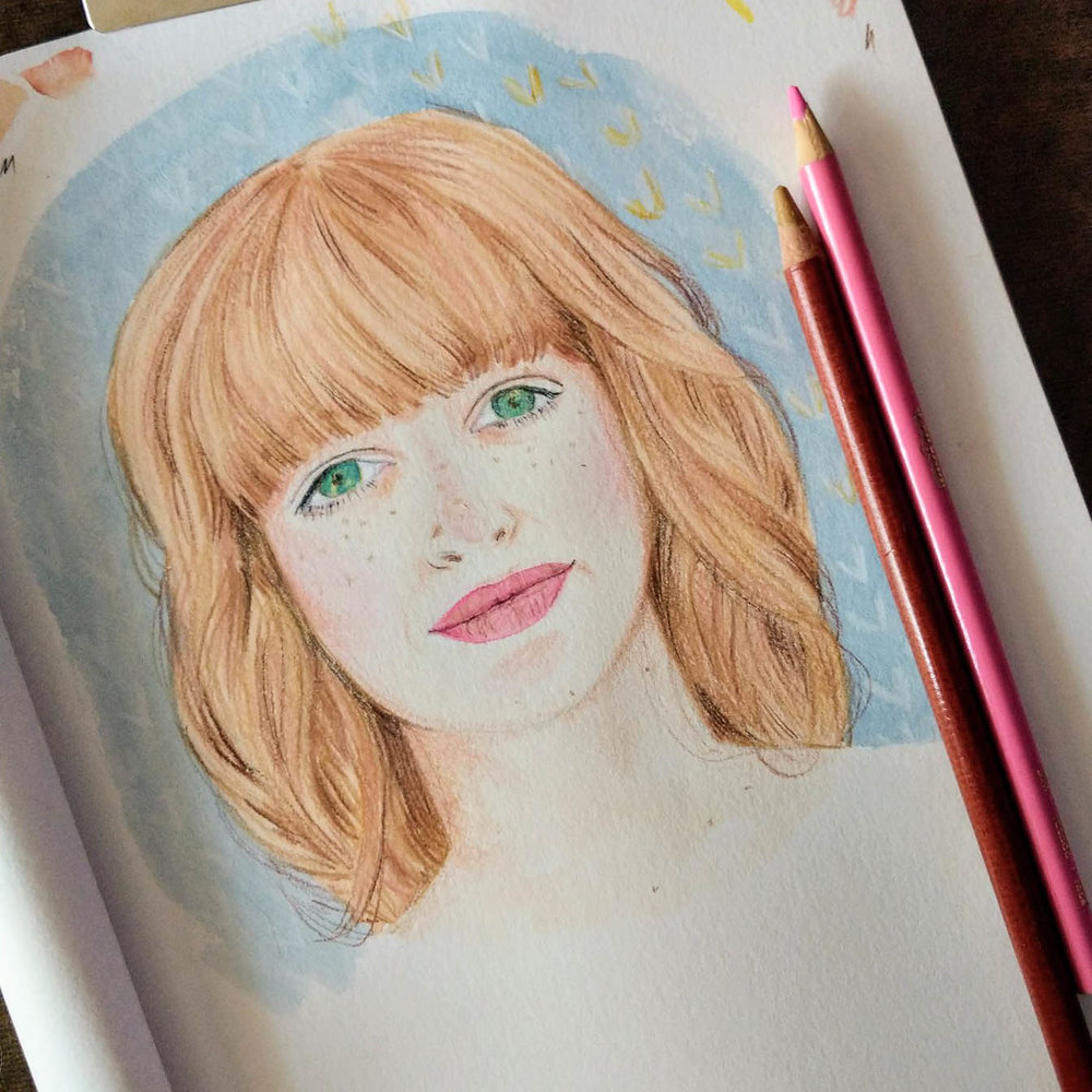 All portraits are painted in watercolor and finished with colored pencil.