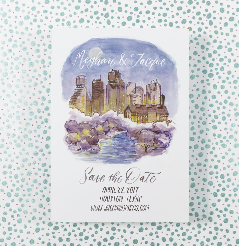 Here a custom watercolor illustration of the Houston skyline at twilight was painted and added to very special save the dates.