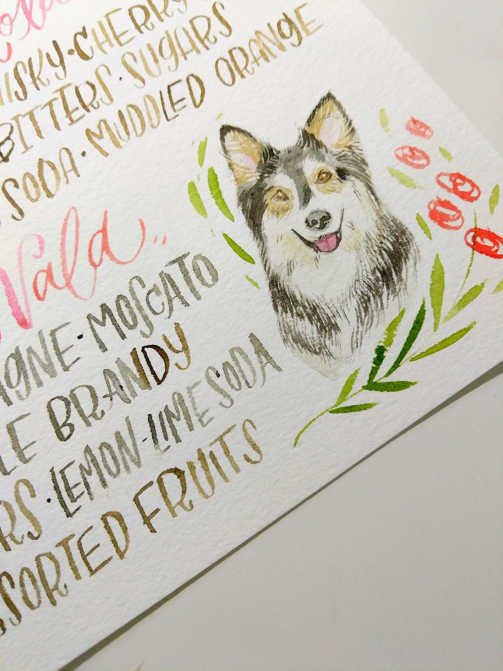 Say hello to Nala! This sweet girl's portrait was added to a custom cocktail sign for her mommy's wedding.
