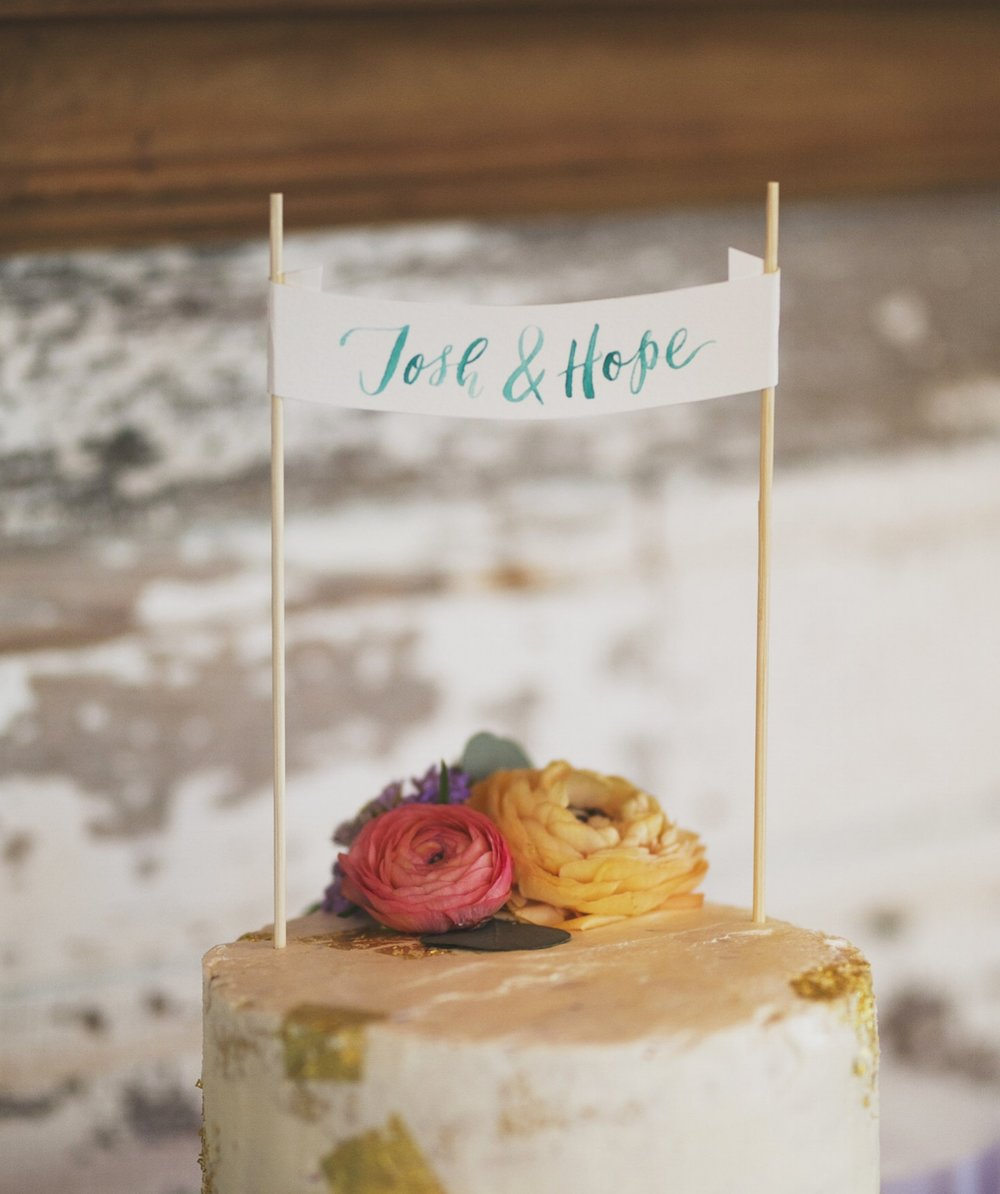 Calligraphy Banner Cake Topper