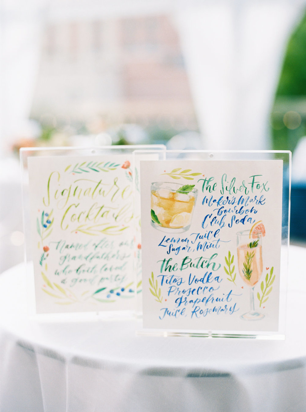Watercolor Illustrated Signature Cocktail Signs