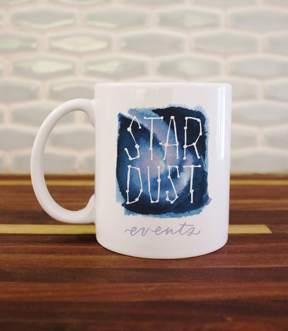 Stardust Event's completed logo custom printed on a coffee mug! So cute!