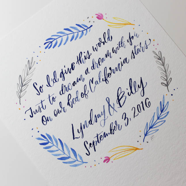 hand lettered anniversary gift hey bernadette the woodlands texas