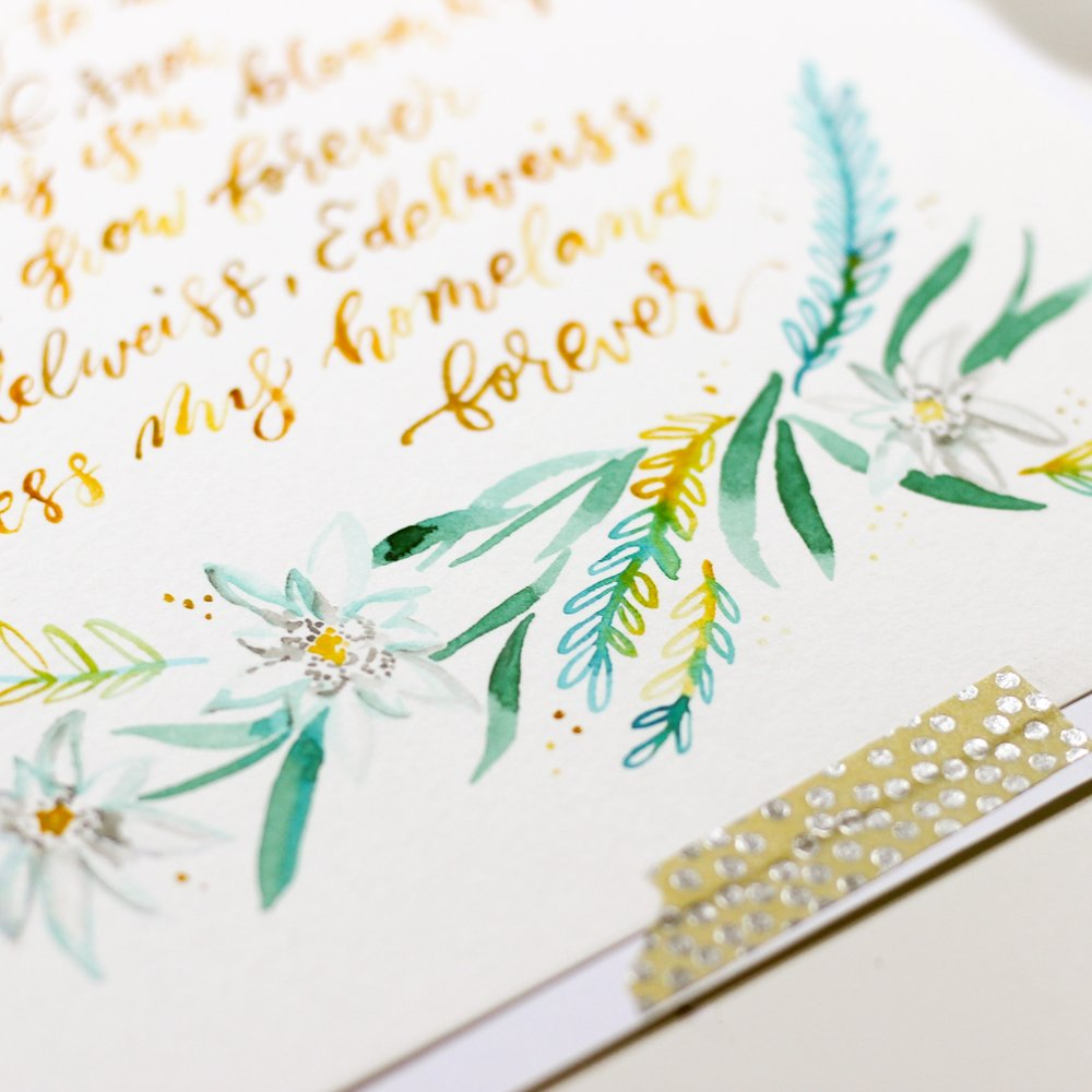 floral watercolor illustrated calligraphy hey bernadette the woodlands texas