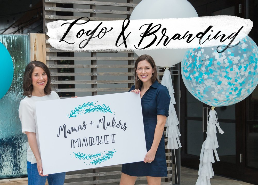 Fully Illustrated Custom watercolor logo for the Mamas & Maker's market in Houston, Texas.