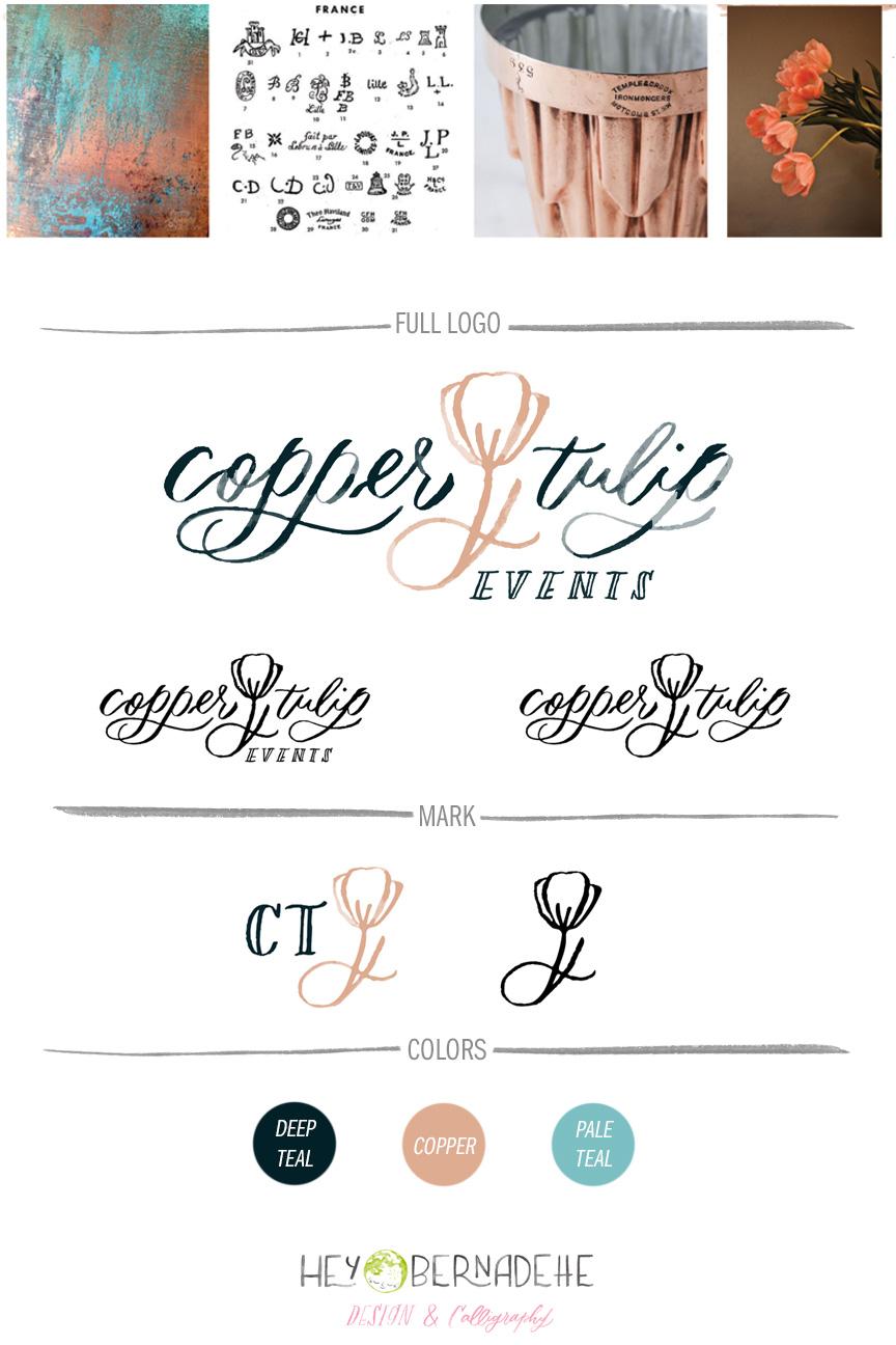 watercolor logo branding sheet hey bernadette