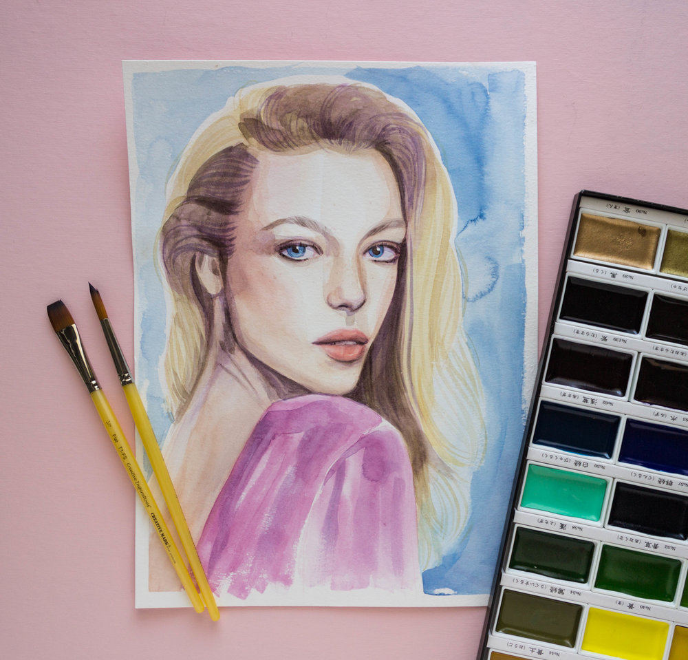 watercolor fashion portrait