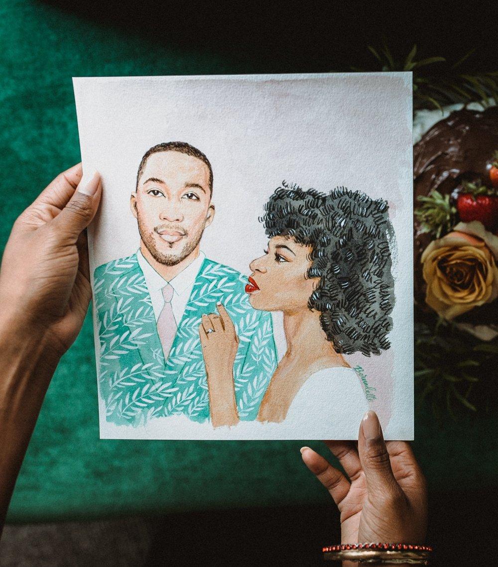 custom painted bridal portrait in watercolor