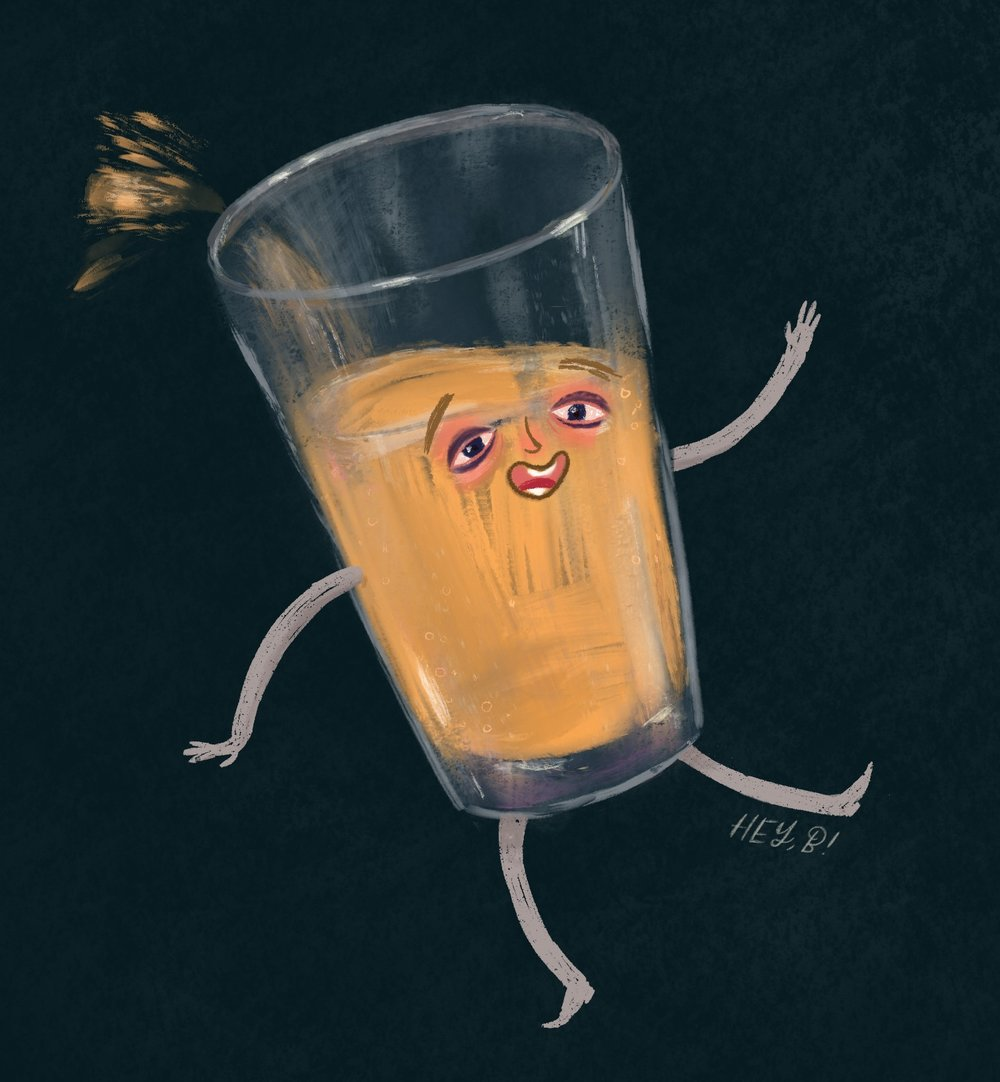pint of beer character illustration