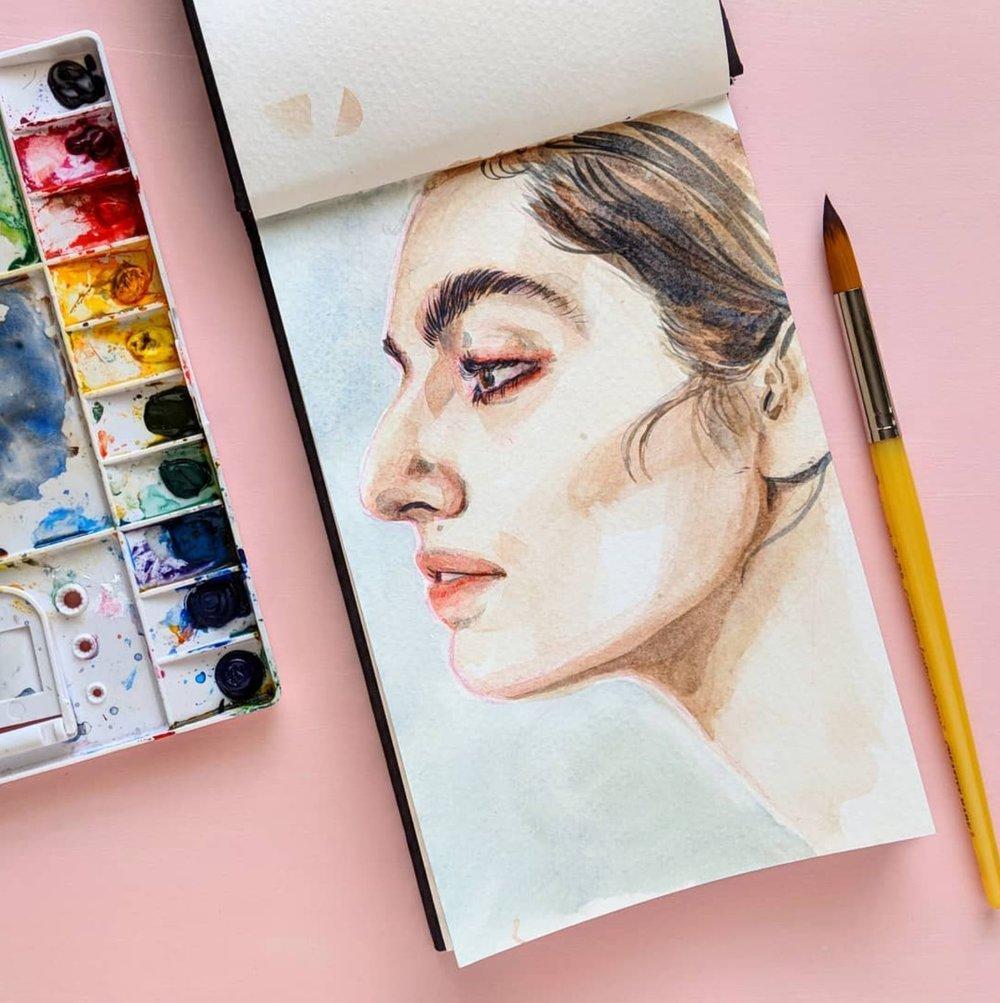 Portrait Profile in Watercolor