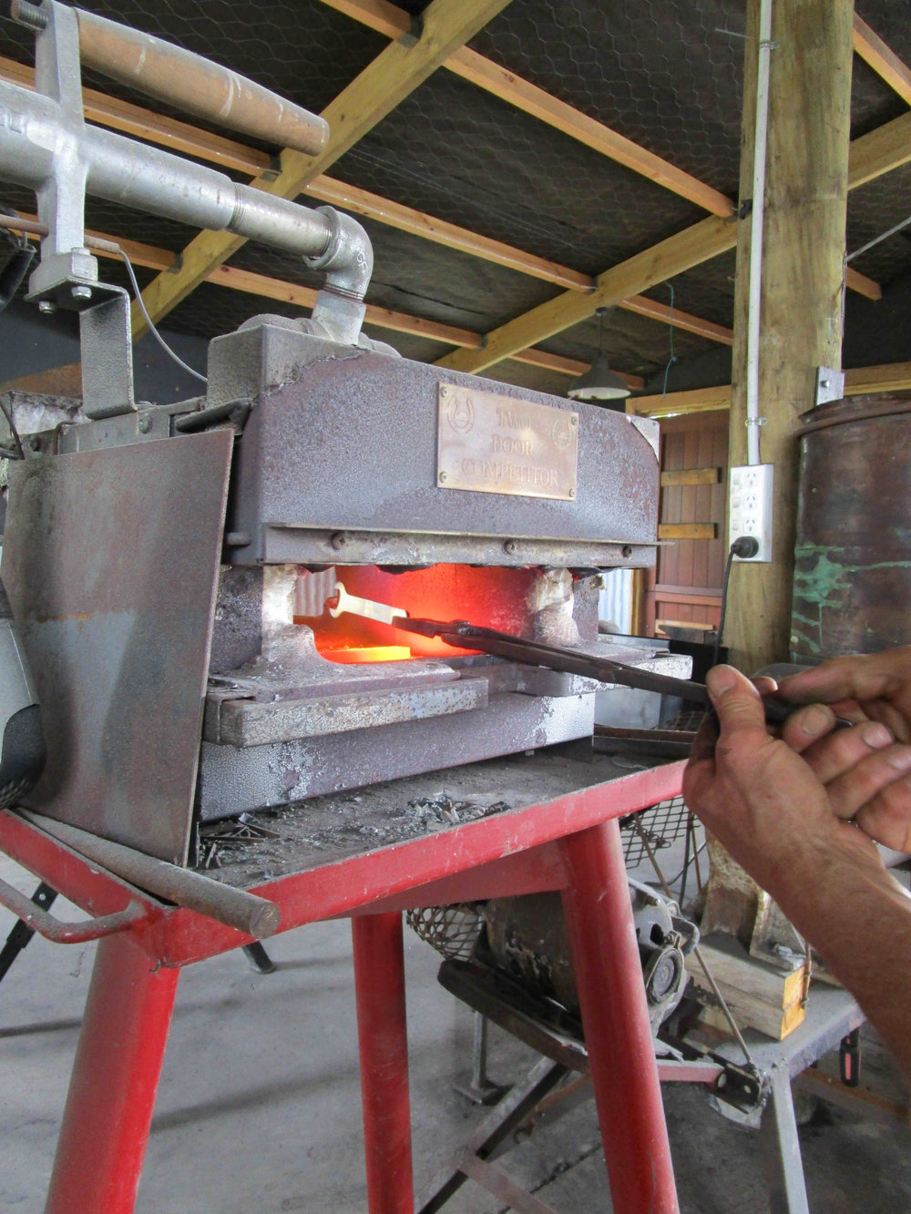 Forge tempering at Kowhai Forge