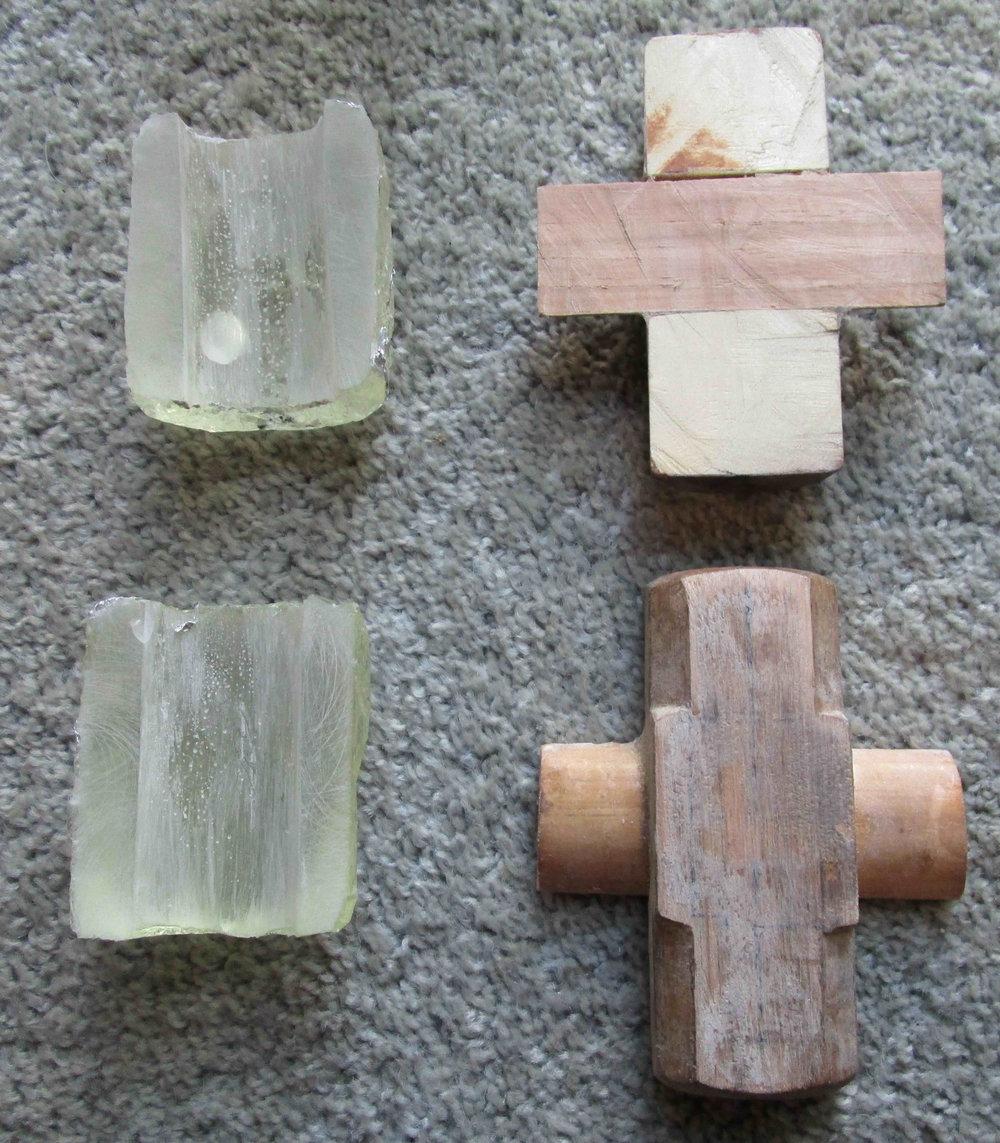 Resin head hole blocks cast in two halves, head holder blocks inserted and block cut in half using razor saw