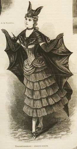 This is a late 19th century Halloween costume of a bat.