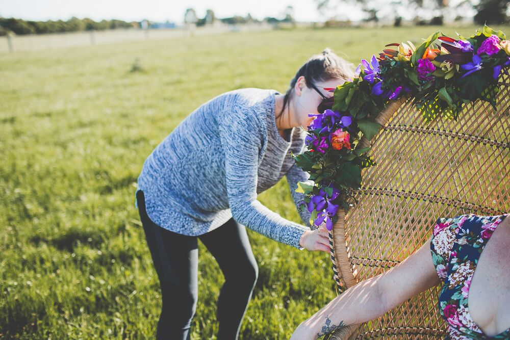 Behind the scenes of our Boho Spring Fashion Shoot. Image:  Light and Type Photography . Florals:  Dear Delilah Florist.