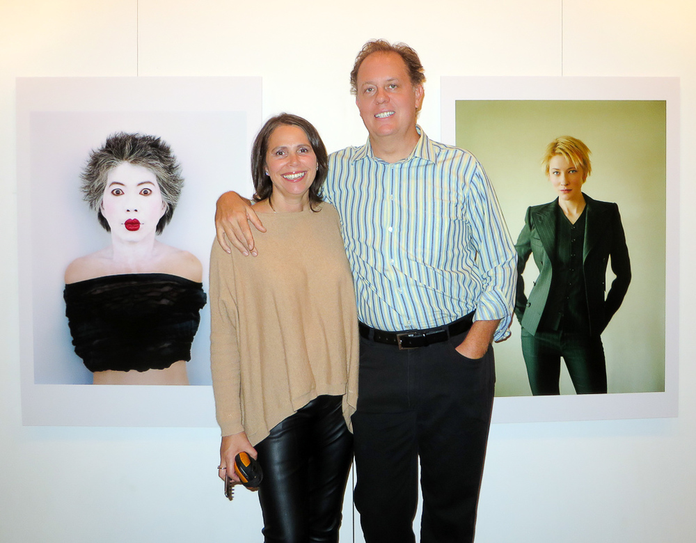 Rachel & George at theopening night exhibition of George's show at theHeadon Festival with two of his favourite works Lee Lin Chin and Cate Blanchett.