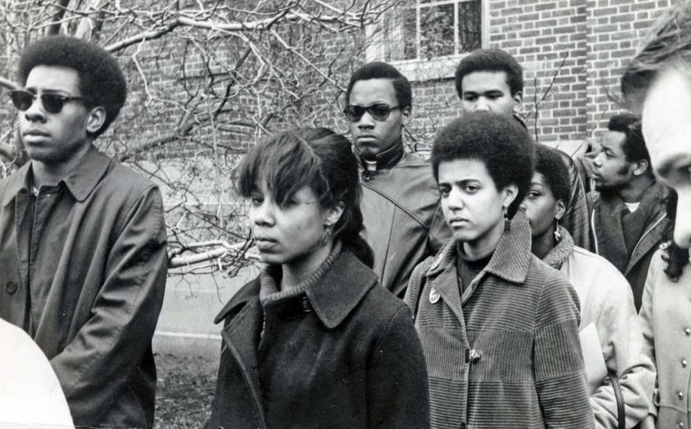 The Black men of the Afro-American Society at Brown University and Black women of Pembroke College walk out on December 5th, 1968.