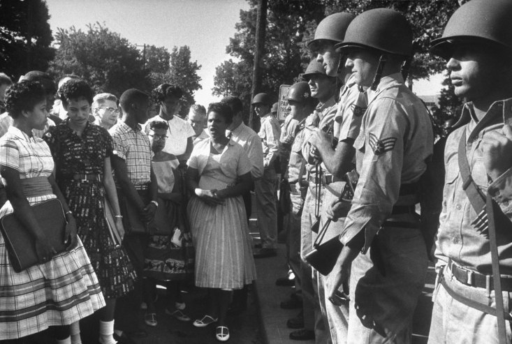 Arkansas National Guardsmen prevent The Little Rock Nine from entering Little Rock Central Highschool