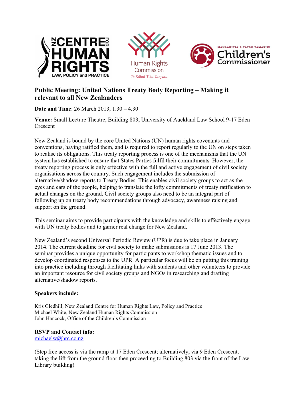 Public Meeting: United Nations Treaty Body Reporting – Making it relevant to all New Zealanders