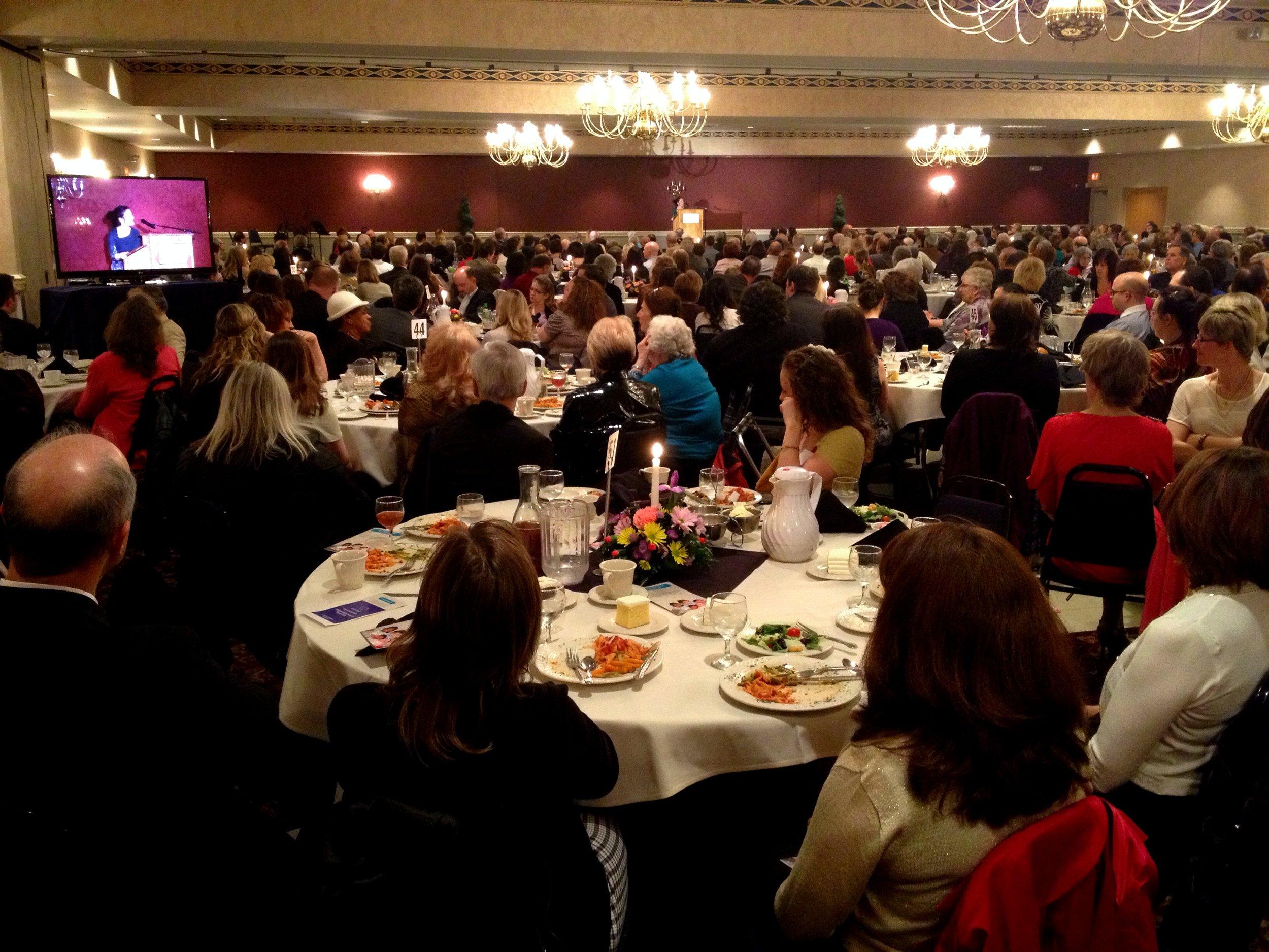 Gianna Jessen sharing at an AIM Women's Center event near Steubenville.
