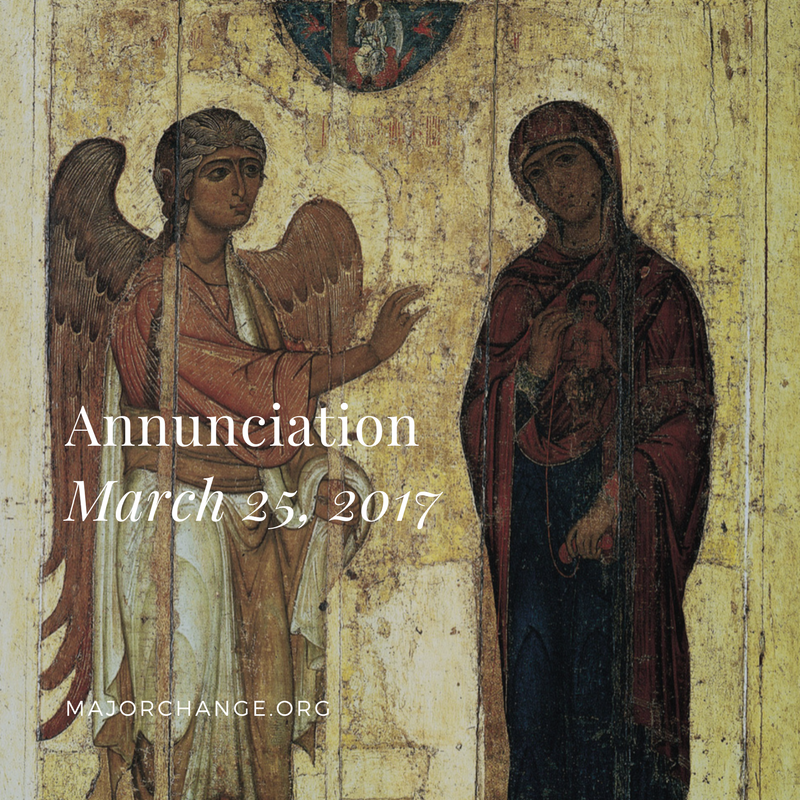 Feast of Annunciation. Fish, oil, wine allowed.