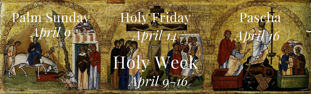 Holy Week is a separate fasting week from Great Lent for Eastern Christians. Fasting is intensified. Monday through Thursday one meal each day is taken but those who are able may fast completely. Many people eat uncooked food only. Friday and Saturday should observe complete fast.  Lazarus Saturday, April 8     Palm Sunday, April 9; Fish, oil, wine allowed.      Sunday through Wednesday: Bridegroom Matins.     Great and Holy Monday, April 10     Holy Tuesday, April 11     Holy Wednesday, April 12     Great and Holy Thursday, April 13     Great and Holy Friday, April 14     Great and Holy Saturday, April 15     Pascha, Easter, April 16